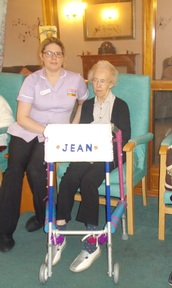 Resident Jean Fisher and her personalised walking aid