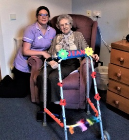 Resident Jean McQuistin with her 'pimped up' walking aid