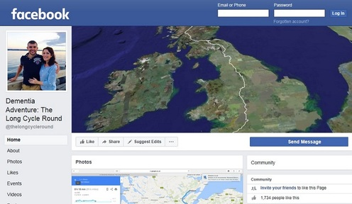 The public can keep up with the cyclist as he rides across Britain by visiting his Facebook page