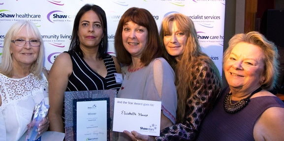 Staff from Elizabeth House with Davina Ludlow (on the right), chair of carehome.co.uk