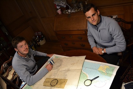 Oli Glanville and George Randall map out their voyage