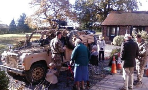 Private Burnikell brings army truck to show care home's residents Credit: Daniel Burnikell
