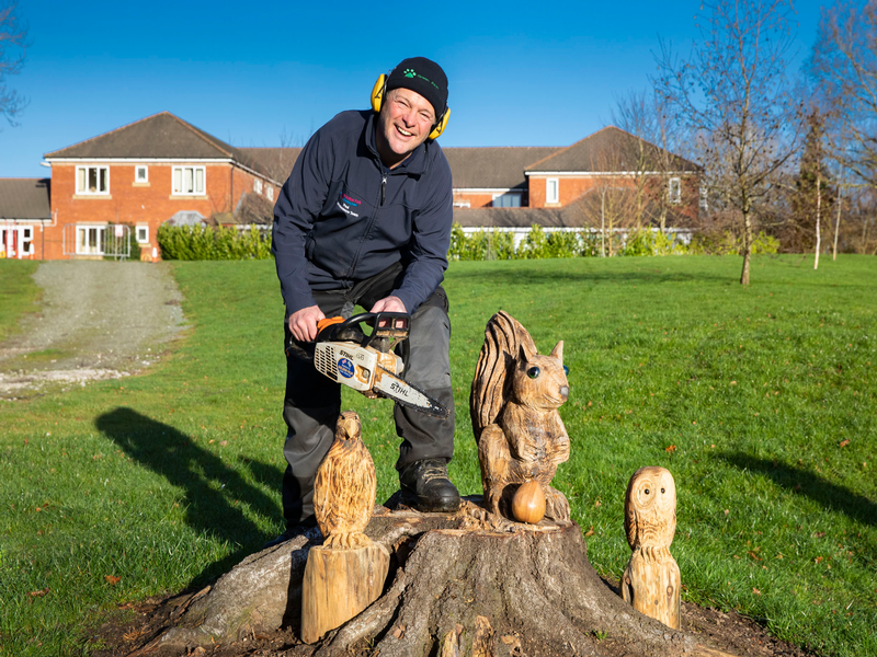 Chainsaw sculptor carves giant squirrels owls and hawks for care home