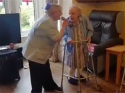Care home resident Pam stars in a sing-a-long